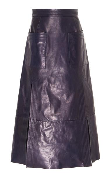 Martin Grant Midi Leather Skirt in black