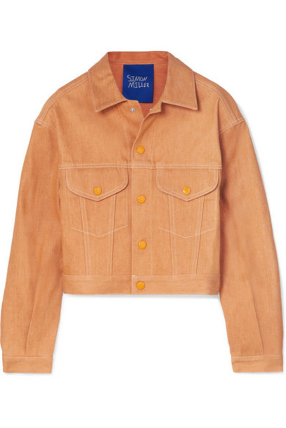 SIMON MILLER - Morgo Cropped Denim Jacket - Orange