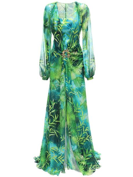 VERSACE Jungle Print Sheer Silk Muslin Dress in green