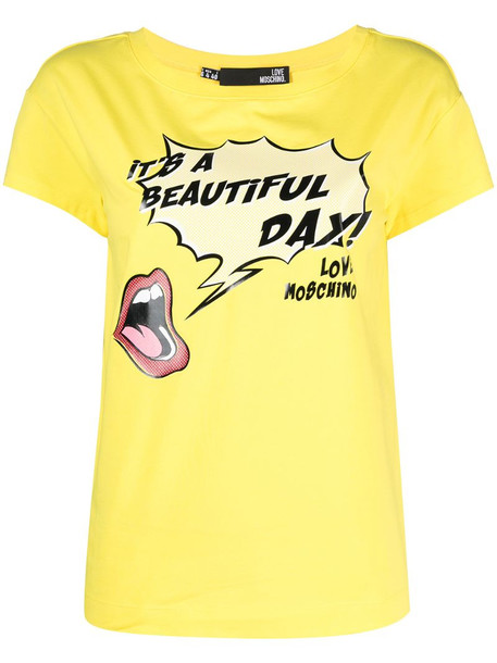 Love Moschino It's A Beautiful Day T-shirt in yellow