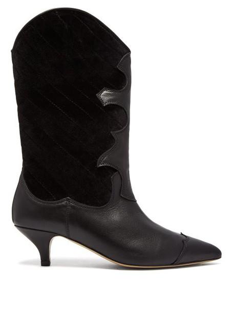 Ganni - Adel Quilted Velvet Western Boot - Womens - Black