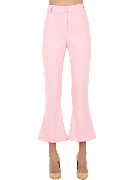 HEBE STUDIO Charlie Viscose Cady Flared Pants in pink