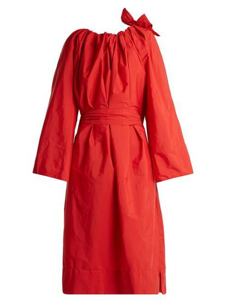Maison Rabih Kayrouz - Tie Neck Gathered Paper Taffeta Dress - Womens - Red