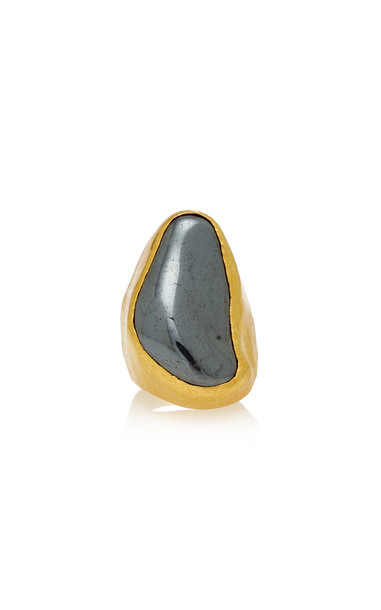Pippa Small Tibetan Ring With Hematite in black