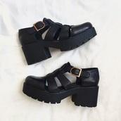 shoes,black,sandals,heels,platform shoes,platform sandals,aesthetic,aesthetic tumblr,leather,faux leather,buckles,heel,chunky heel,chunky sole