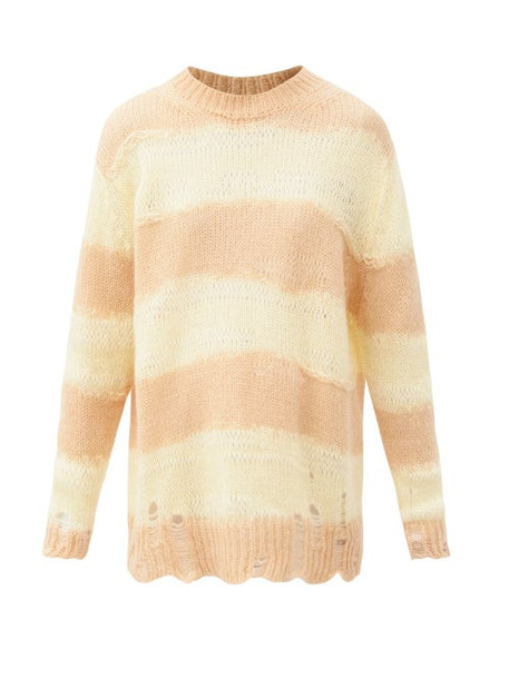 Acne Studios - Kalia Oversized Striped Knitted Sweater - Womens - Light Yellow