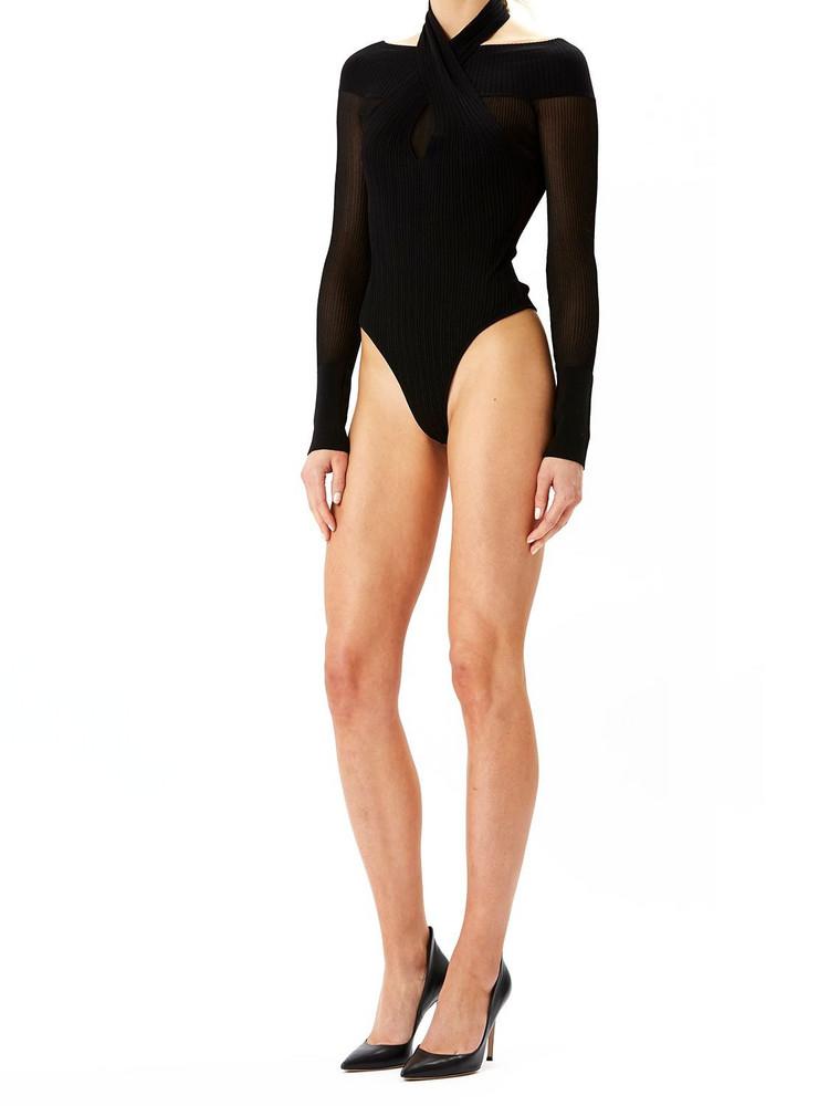 HERVÉ LÉGER Halterneck Rib Knit Bodysuit in black