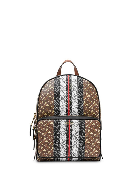 Burberry Monogram Stripe Print E-canvas Backpack in brown