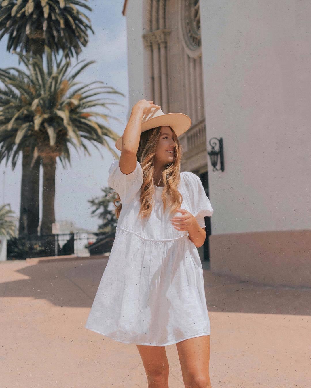 dress white dress mini dress short sleeve dress babydoll dress summer dress hat