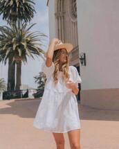 dress,white dress,mini dress,short sleeve dress,babydoll dress,summer dress,hat