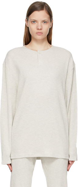 Essentials Off-White Thermal Waffle Henley