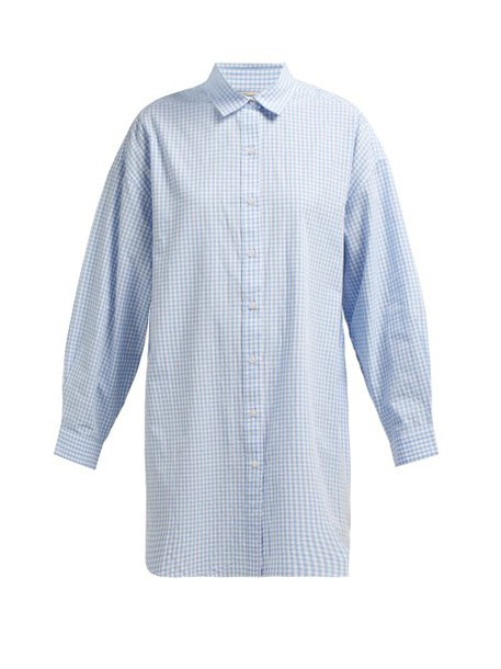 Mes Demoiselles - Checked Oversized Cotton Shirt - Womens - Blue White