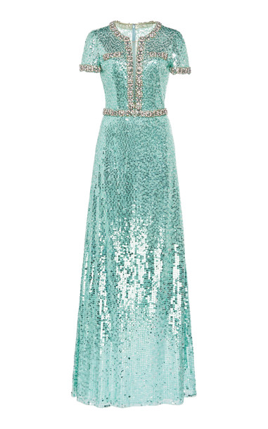Jenny Packham Sequined Mermaid Dress Size: 6 in blue