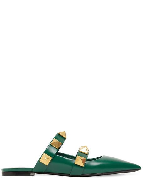 VALENTINO GARAVANI 10mm Leather Mules in green