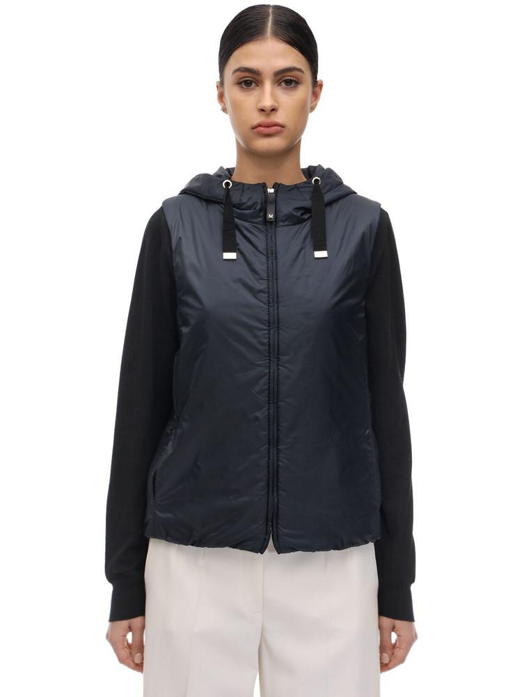 MAX MARA 'S Hooded Waterproof Nylon Down Vest in blue