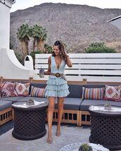 dress,mini dress,layered,sleeveless dress,shoes,sandal heels,blue dress,v neck dress,belted dress