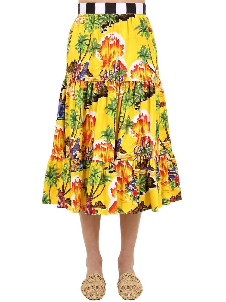 STELLA JEAN Printed Cotton Midi Skirt in yellow