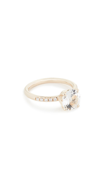 Jane Taylor 14k Solitaire Pavé Band Ring in white