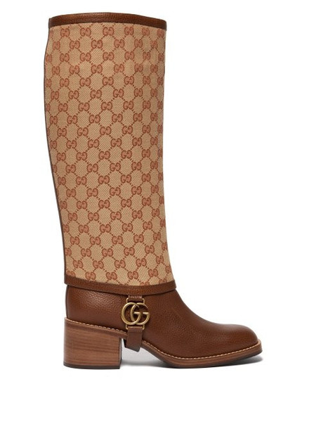 Gucci - Lola Gg Supreme Gaiter Leather Boots - Womens - Tan