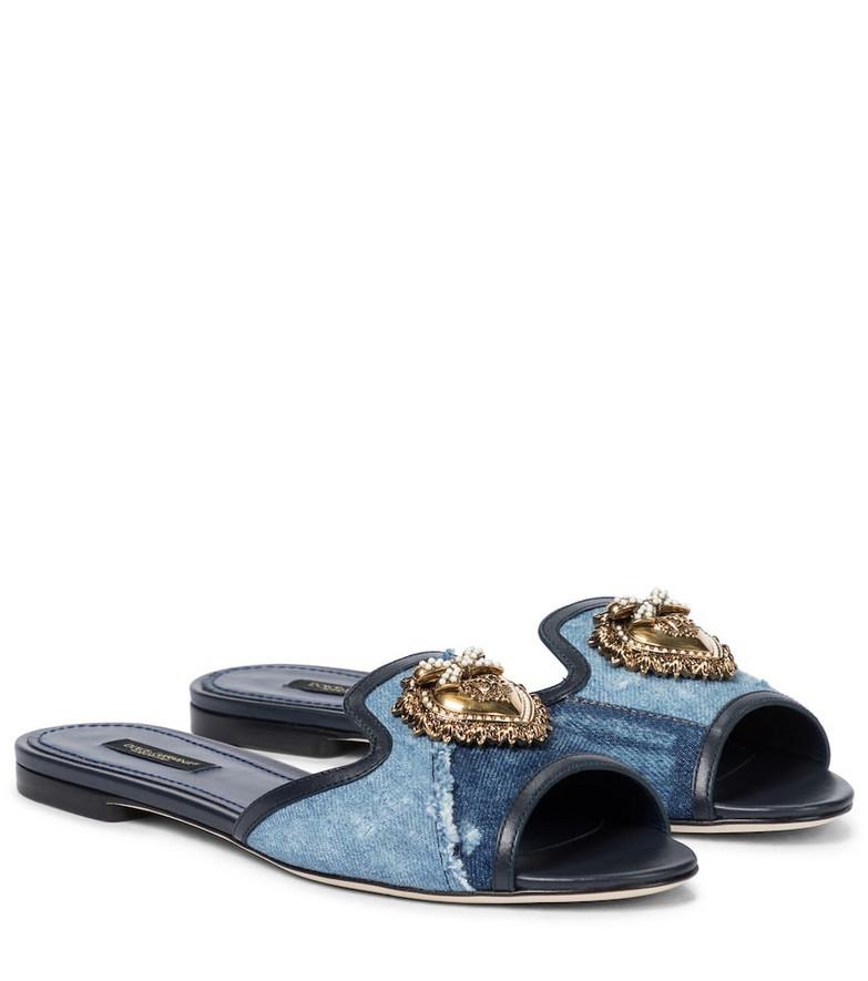 Dolce & Gabbana Patchwork embellished denim slides in blue