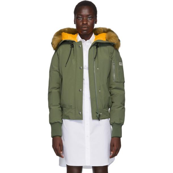 Kenzo Green Down Faux-Fur Hooded Jacket