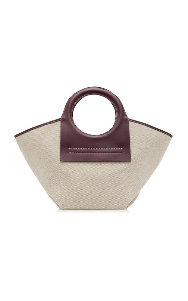 Hereu Cala Small Leather-Trimmed Canvas Tote in purple