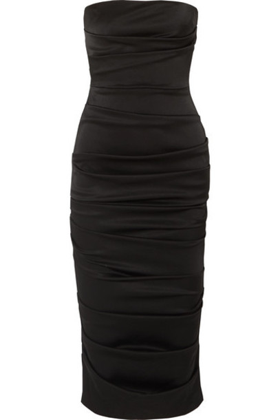 Alex Perry - Ace Strapless Ruched Satin Dress - Black