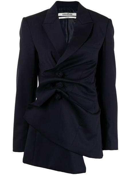 Kimhekim Venus draped single-breasted blazer in blue