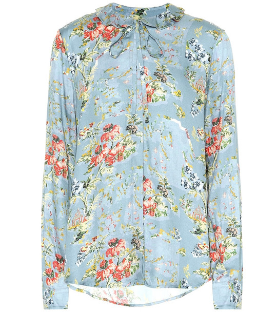 Preen by Thornton Bregazzi Aryanna floral satin blouse in blue