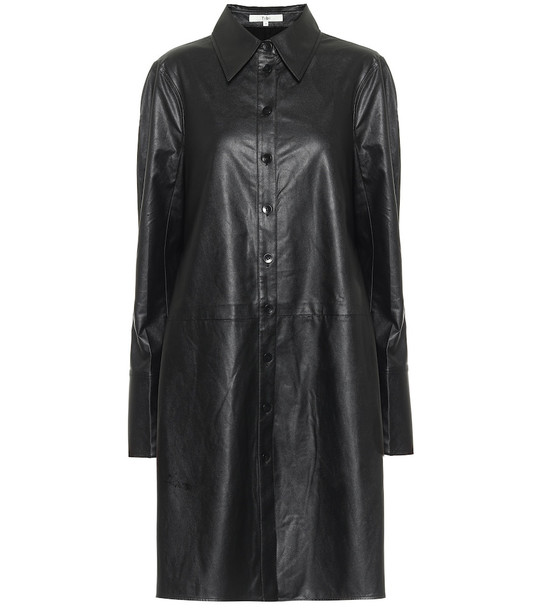 Tibi Tissue faux leather shirt minidress in black