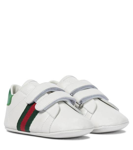 Gucci Kids Baby Web leather sneakers in white