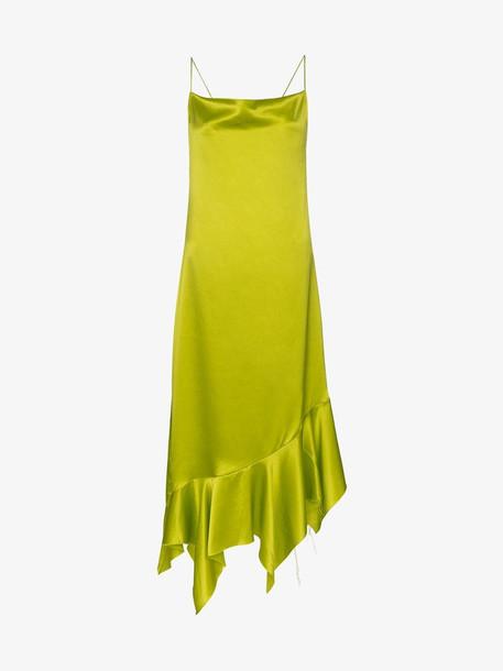 Marques'Almeida Asymmetric hem silk dress in green