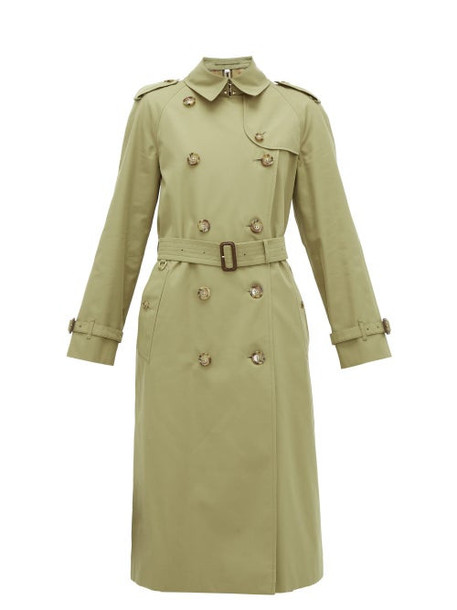 Burberry - Waterloo Cotton Gabardine Trench Coat - Womens - Olive Green