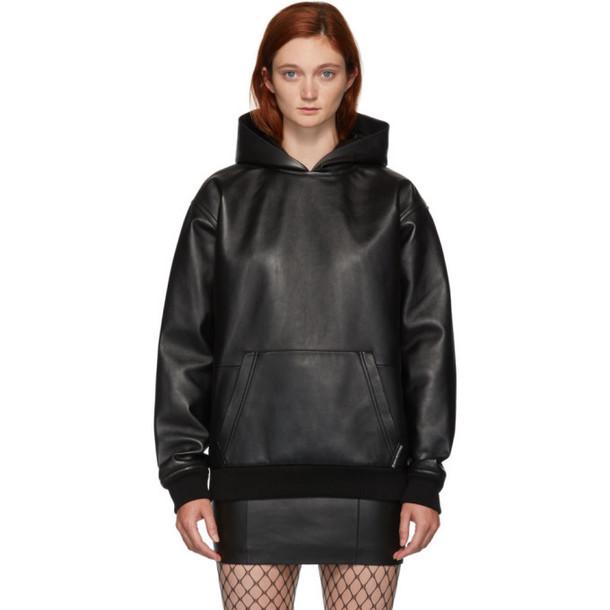 Alexander Wang Black Leather Hoodie