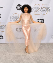 pants,yara shahidi,celebrity,red carpet,nude,neutral,sequin pants