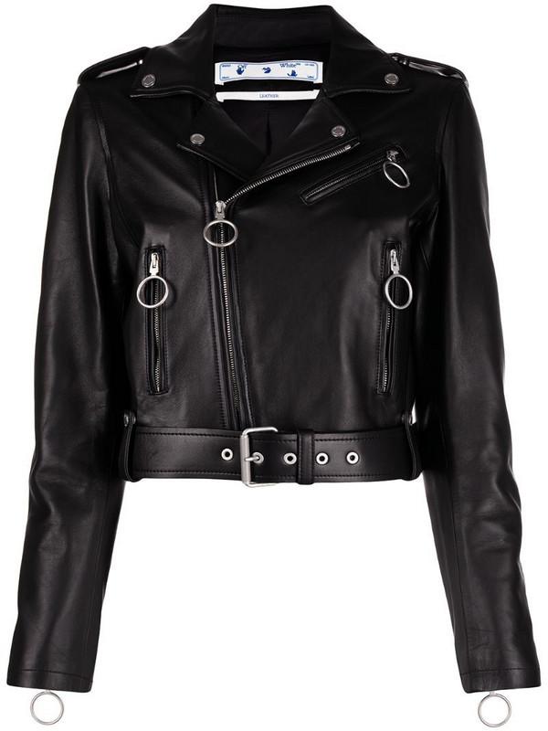 Off-White Arrows motif cropped biker jacket in black