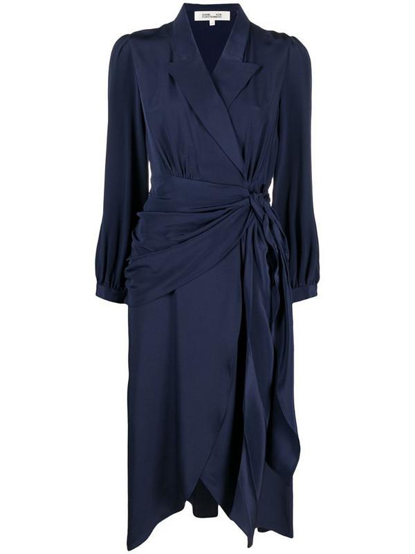 DVF Diane von Furstenberg Stella faux-wrap midi dress in blue