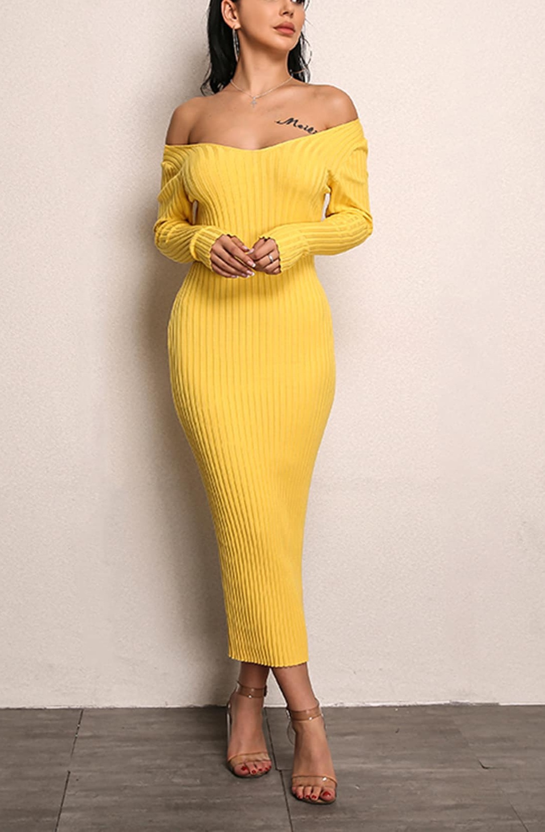 ac2ef458a627 dress body girly girl girly wishlist yellow yellow dress bodycon dress  bodycon off the shoulder off