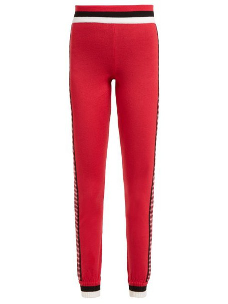 Fendi - High Rise Checked Wool Leggings - Womens - Red Multi