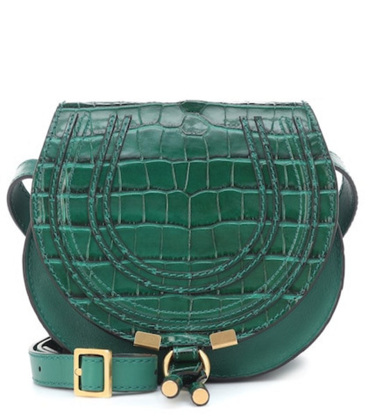 Chloé Marcie Small leather shoulder bag in green