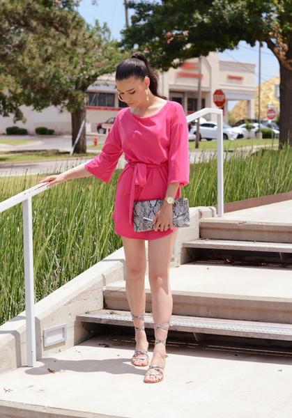 raspberry jam blogger dress jewels shoes bag coat sandals pink dress clutch summer outfits
