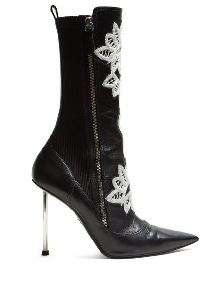 Alexander Mcqueen - Embroidered Leather Ankle Boots - Womens - Black White