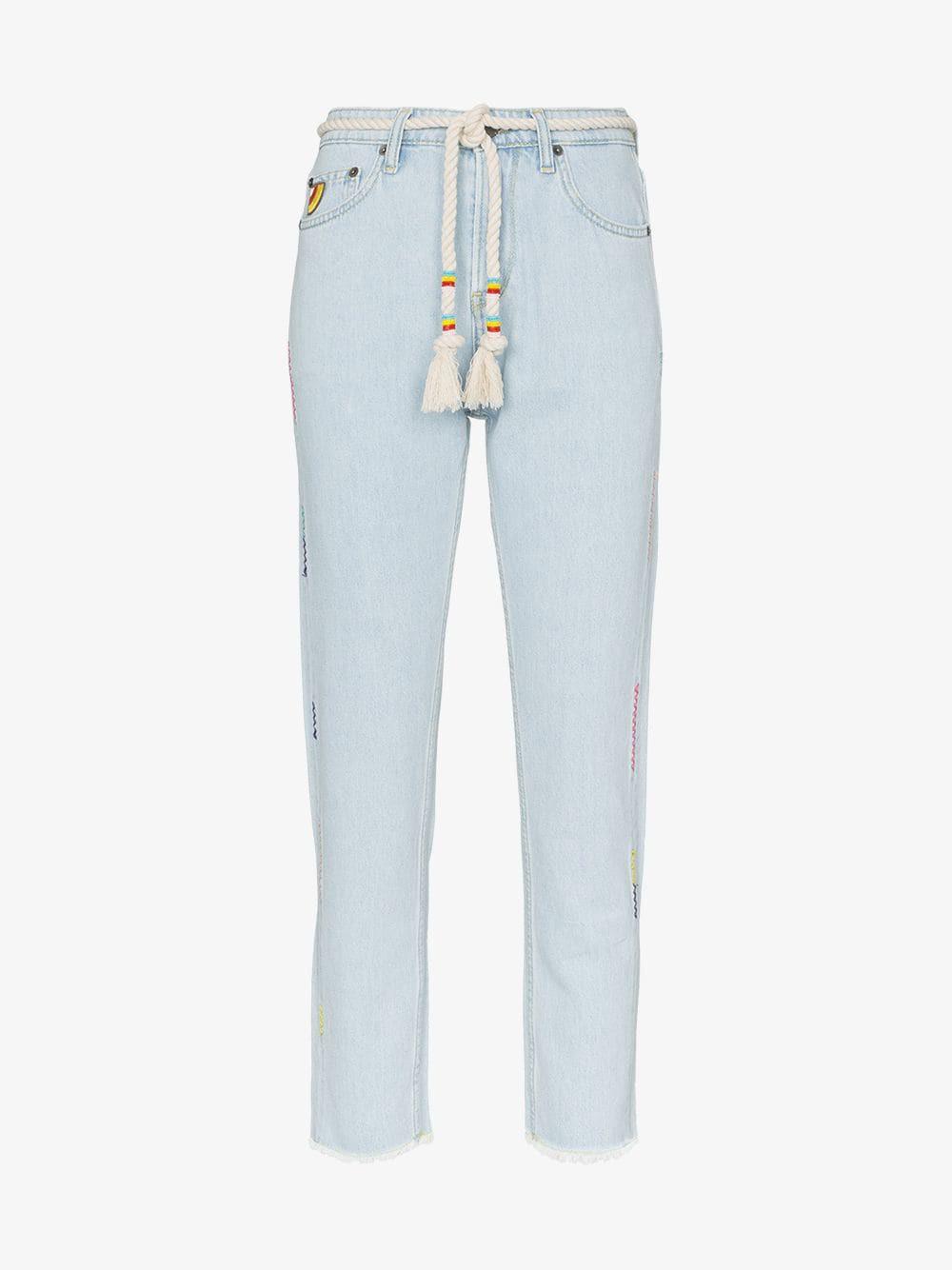 Mira Mikati rope belt cropped jeans in blue