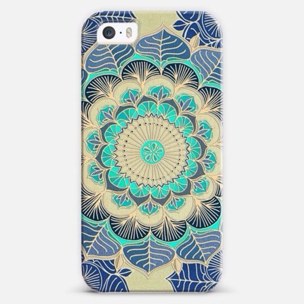 top pattern phone cover blue green cream