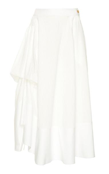 Loewe Gathered Paneled Cotton Midi Skirt Size: 34 in white