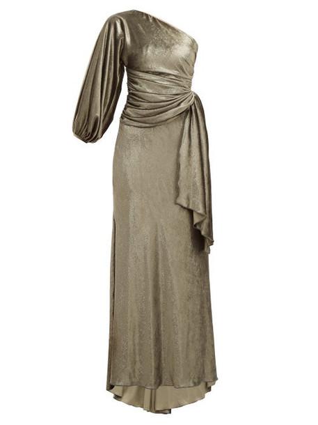 Maria Lucia Hohan - Amaris Gathered One Shoulder Velvet Dress - Womens - Khaki