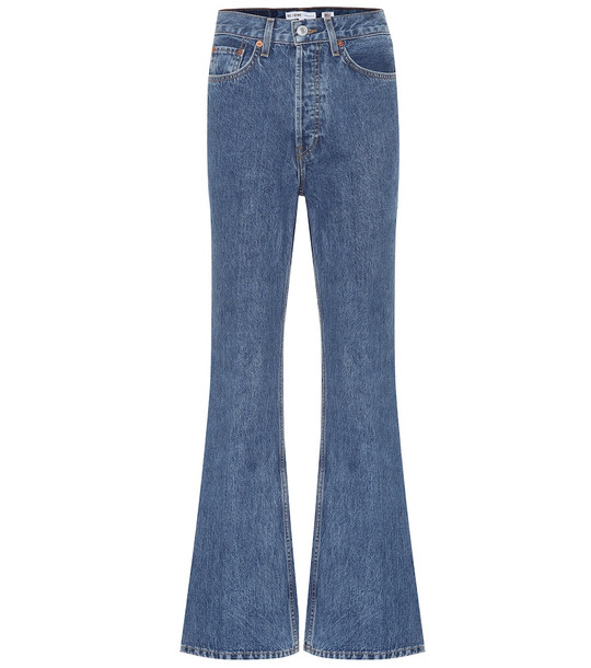 Re/Done '70s utlra high-rise flared jeans in blue