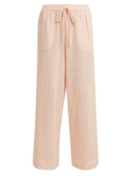 Marysia - Embroidered Cotton Wide Leg Trousers - Womens - Pink