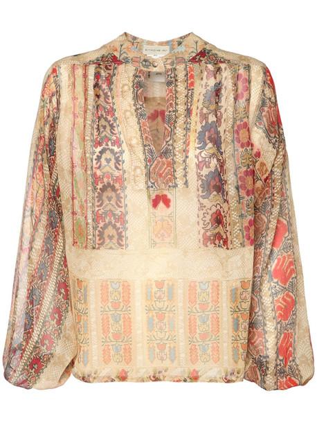 ETRO Silk Georgette Printed Sheer Blouse in multi / beige