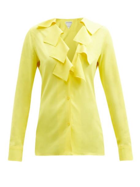 Bottega Veneta - Square-ruffle Crepe Blouse - Womens - Yellow